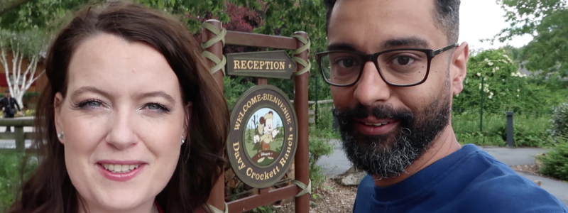 The famous welcome sign of Davy Crockett Ranch with an outdoor Mickey. So cute