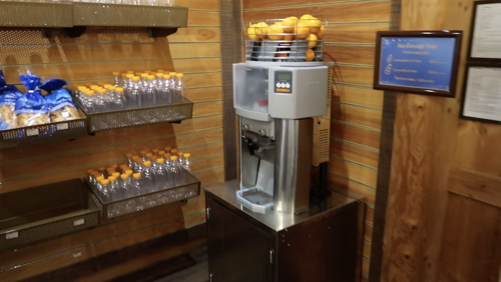Fresh orange juice at Davy Crockett Ranch