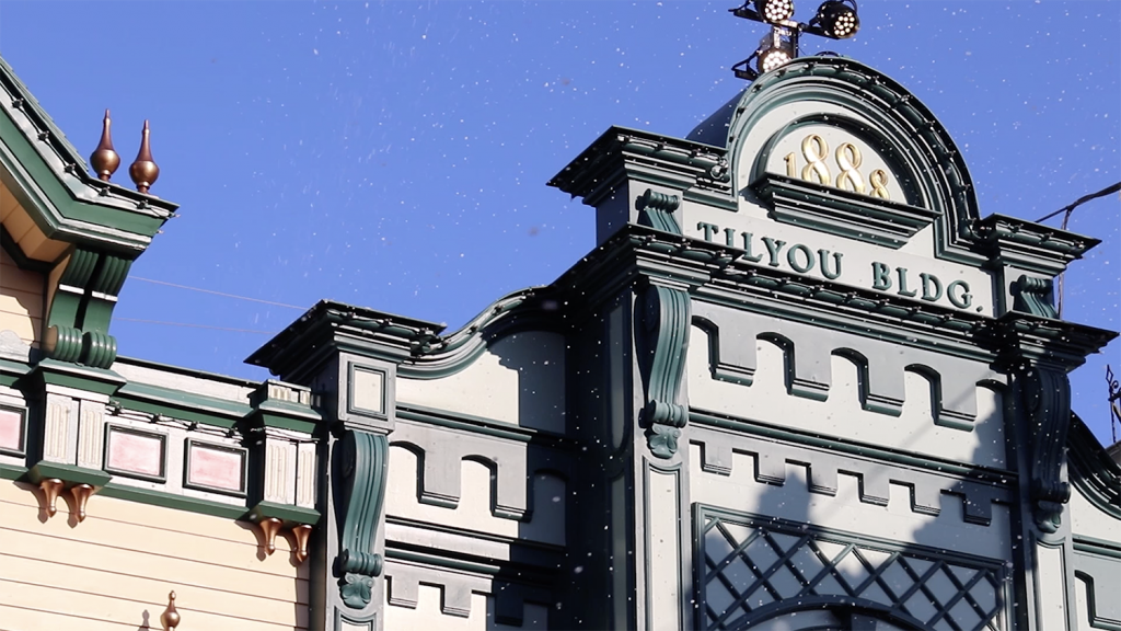 Snow at Main Street USA at Disneyland Paris during Christmas