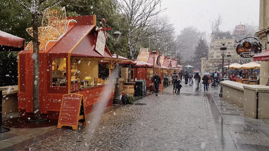 Snow near the food stands at Walt Disney's Studios Park at Disneyland Paris during Christmas