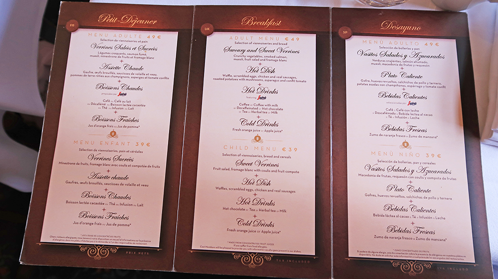 The Menu of auberge de cendrillon breakfast